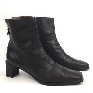 Stuart Weitzman leather ankle boot block heel